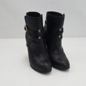 TORY BURCH Dorese Black Leather Ankle Booties Shoe